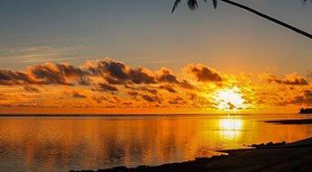 Sunset on the western side of Rarotonga.