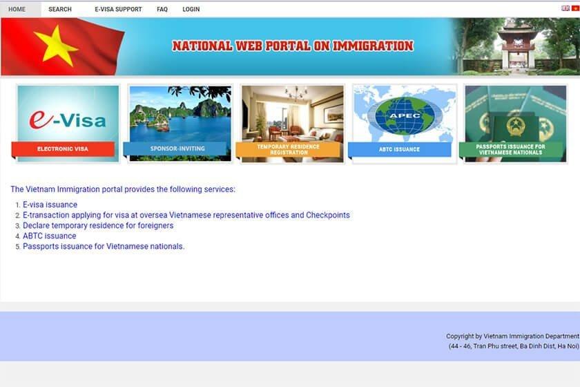 Vietnam eVisa official website.